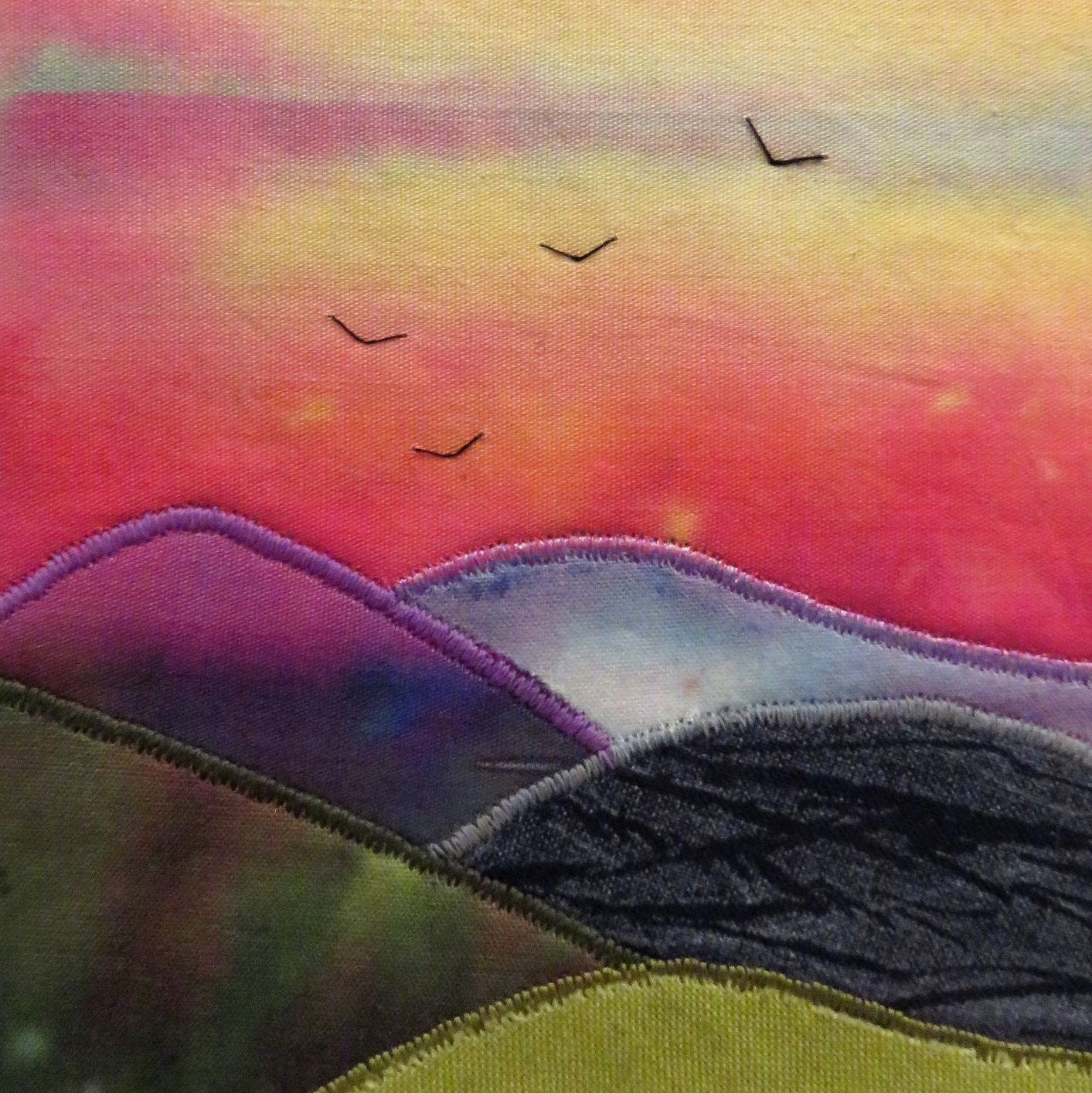 I lift up my eyes up to the hills textile art